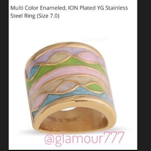 Multi Color ION Plated YG Stainless Steel Ring